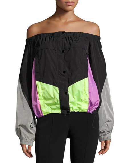 Alexander Wang Off-the-Shoulder Colorblock Wind-Resistant Jacket,