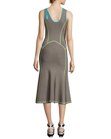 Contrast-Trim Midi Tank Dress, Dove Gray