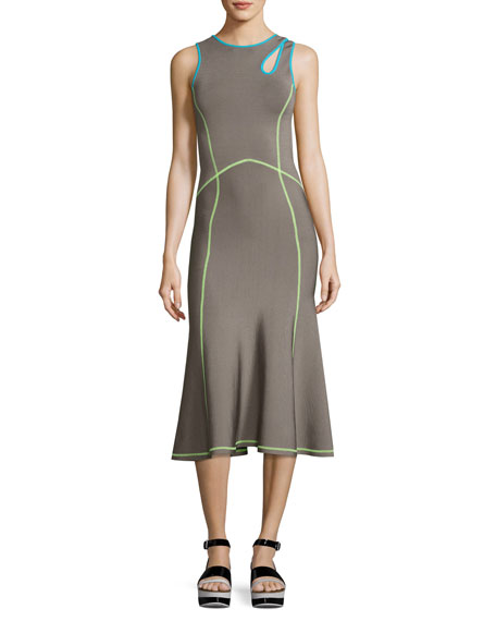 Alexander Wang Contrast-Trim Midi Tank Dress, Dove Gray