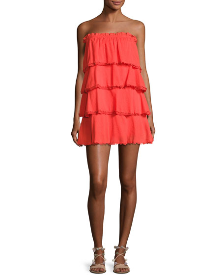 Red Carter Allaire Strapless Tiered Cotton Gauze Dress,