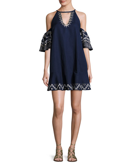 Red Carter Phoebe Embroidered Cold-Shoulder Mini Dress, Blue