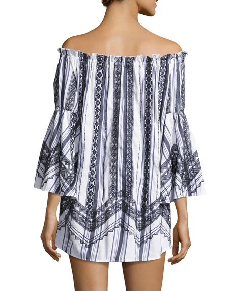 Rio Striped Off-the-Shoulder Tassel-Trim Mini Dress, White/Multicolor