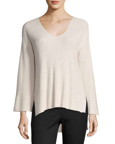 ATM Anthony Thomas Melillo Ribbed V-Neck Pullover Sweater,