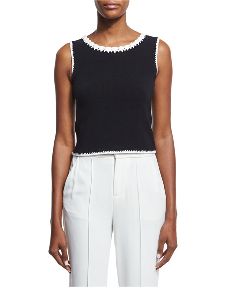 Alice + Olivia Daniela Macrame-Trim Crop Top, Black/White