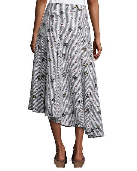 Lily Striped Godet Skirt, Black Pattern