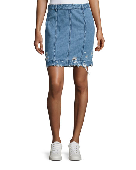 Public School Distressed Stretch Denim Skirt, Indigo