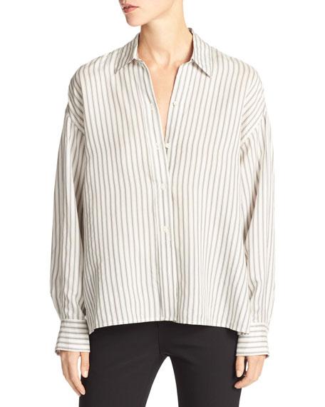 Striped Menswear Cropped Silk Shirt, White