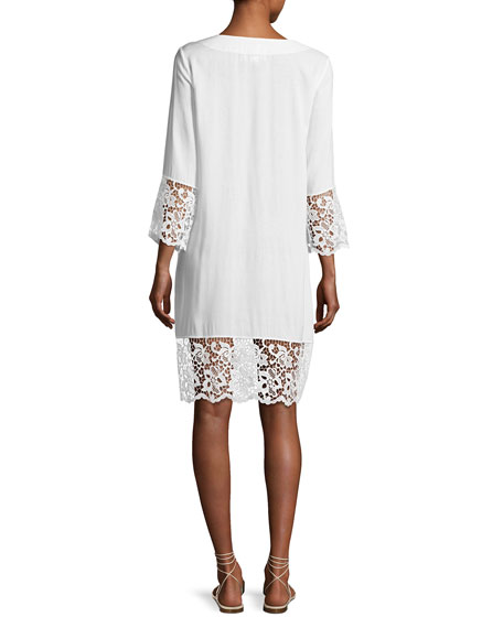 Plage et Ville Lace-Trim Tunic Dress, White