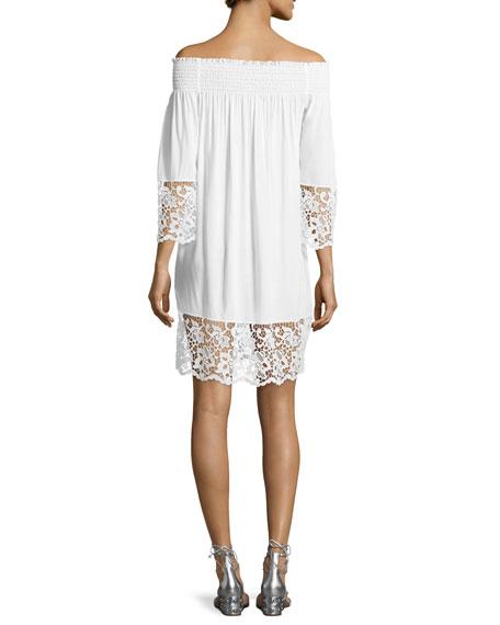 Plage et Ville Off-the-Shoulder Lace-Trim Dress, White
