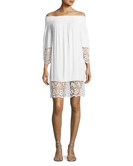 Lise Charmel Plage et Ville Off-the-Shoulder Lace-Trim Dress,