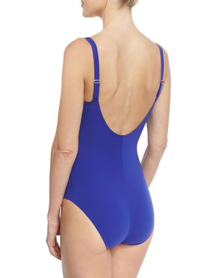 Casting Beaute V-Neck One-Piece Swimsuit, Blue (Available in D-E Cup Sizes)