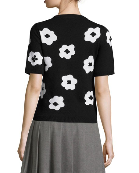 short-sleeve floral pullover sweater, black/cream