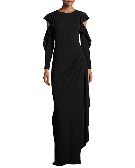 Cold-Shoulder Draped Jersey Column Gown, Black