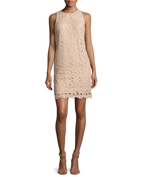Sleeveless Paisley Lace Cocktail Dress, Blush