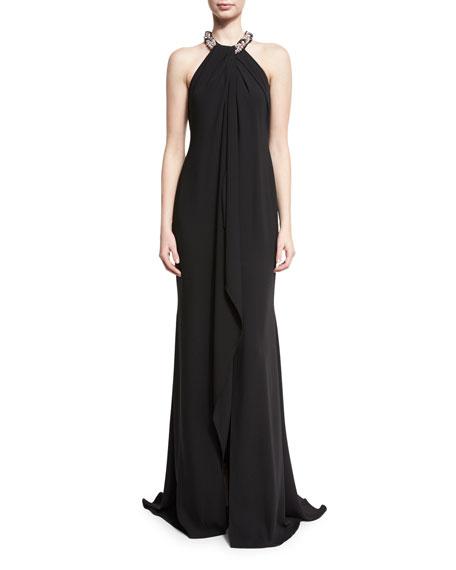Carmen Marc Valvo Chiffon Toga Gown, Black