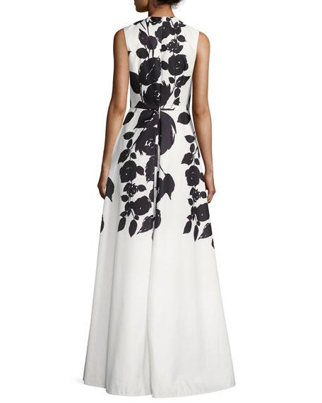 Sleeveless Floral Satin Gown, White/Black