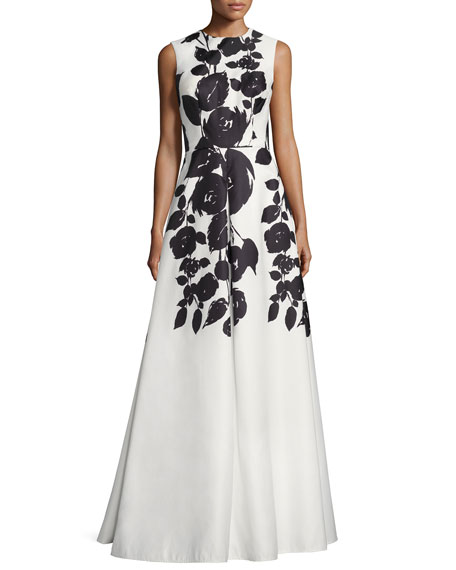 David Meister Sleeveless Floral Satin Gown, White/Black