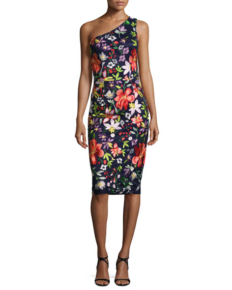Floral One-Shoulder Sheath Dress, Multicolor