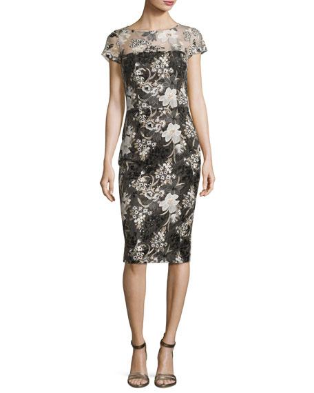 David Meister Short-Sleeve Floral Mesh Sheath Dress, Multicolor