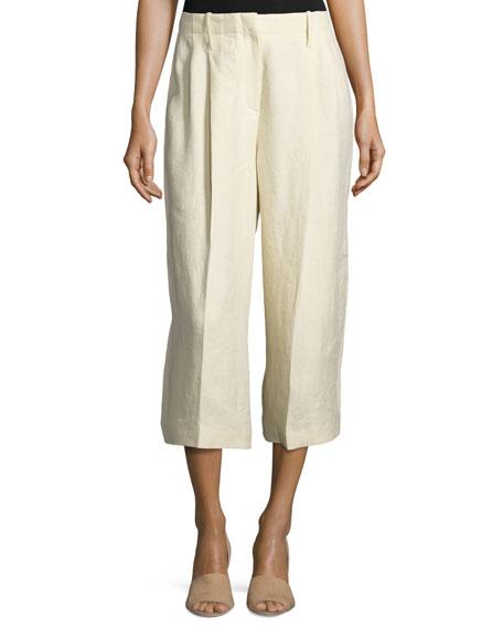 Joseph Tai Linen Twill Wide-Leg Cropped Pants, Sand