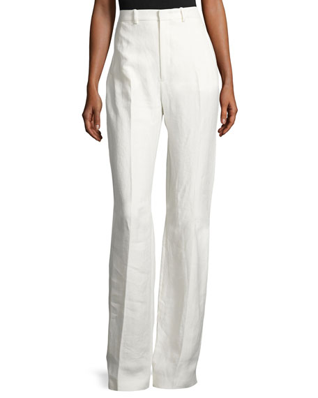Joseph Ferguson Linen Twill Wide-Leg Pants, Off White