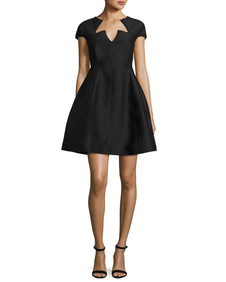 Cap-Sleeve Faille Fit-and-Flare Cocktail Dress, Black