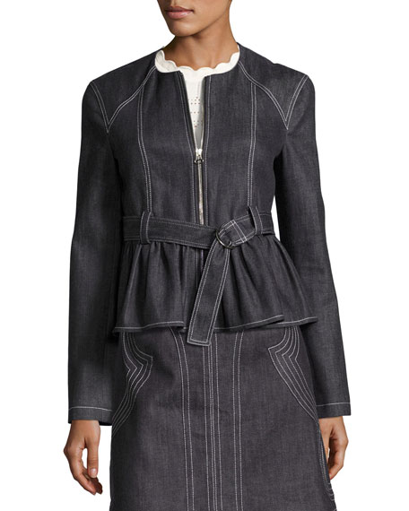 Belted Stretch Chambray Peplum Jacket, Indigo