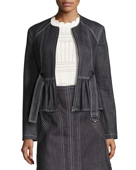Belted Stretch Chambray Peplum Jacket, Indigo