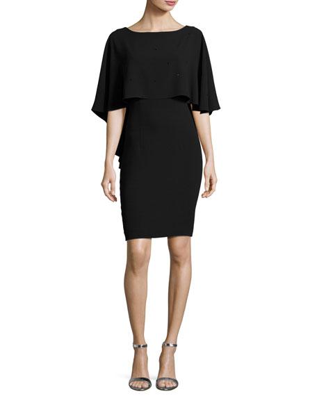 St. John Collection Lightweight Sequined Cape Dress, Black