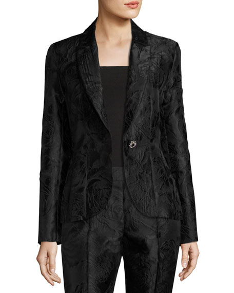 Avani Rose Jacquard Jacket, Black