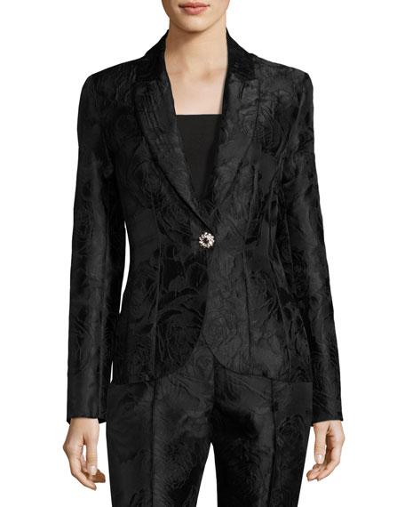 St. John Collection Avani Rose Jacquard Jacket, Black