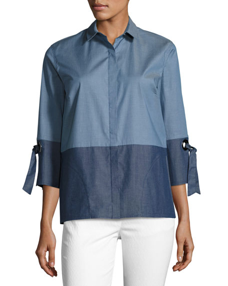 Yarn-Dyed Denim Tie-Sleeve Blouse, Blue/Multi