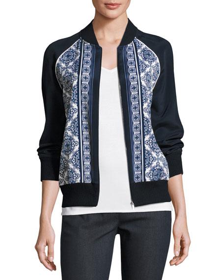 St. John Collection Kali Tile Print Bomber Jacket,