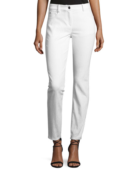 St. John Collection Bardot Jacquard Slim-Fit Capri Jeans,