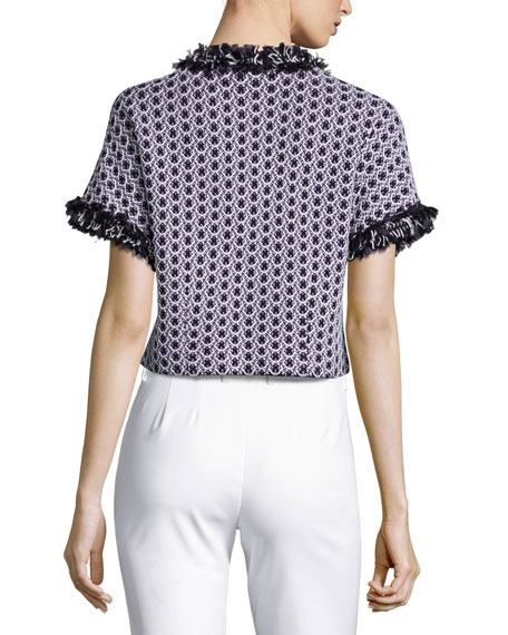 Aadi Tweed Short-Sleeve Jacket, White/Multi