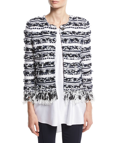 Adel Striped Fringe 3/4-Sleeve Jacket, White/Multi