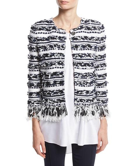 St. John Collection Adel Striped Fringe 3/4-Sleeve Jacket,