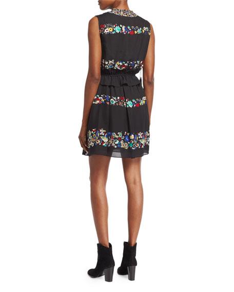2-in-1 Floral Chiffon Mini Dress, Black