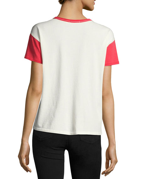 Colorblocked Vintage Crewneck Tee, White/Red