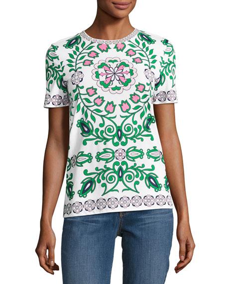 Tory burch vienna floral print cotton t shirt white green for Tory burch t shirt