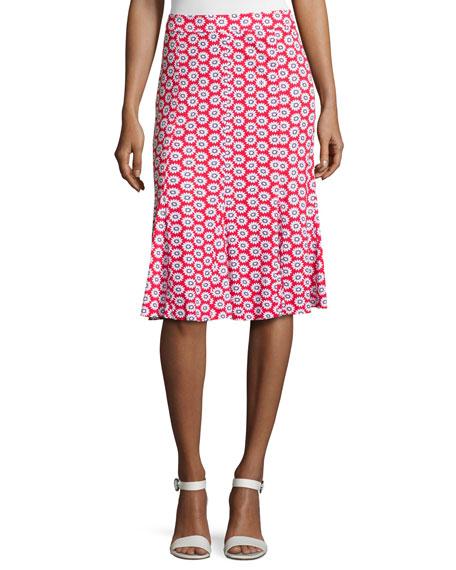 Jada Floral-Print Godet Skirt, Red