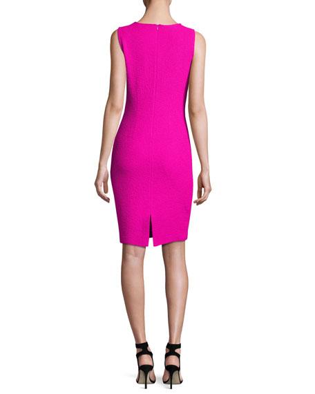 Clair Knit Jewel-Neck Dress, Pink