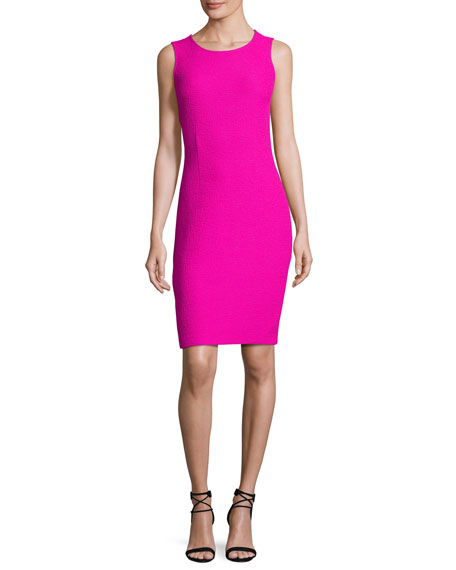 St. John Collection Clair Knit Jewel-Neck Dress, Pink