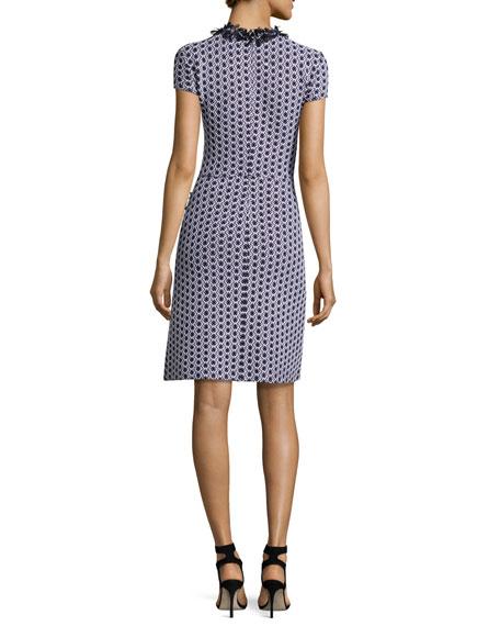 Aadi Tweed Knit Fringe-Trim Dress, White/Multi