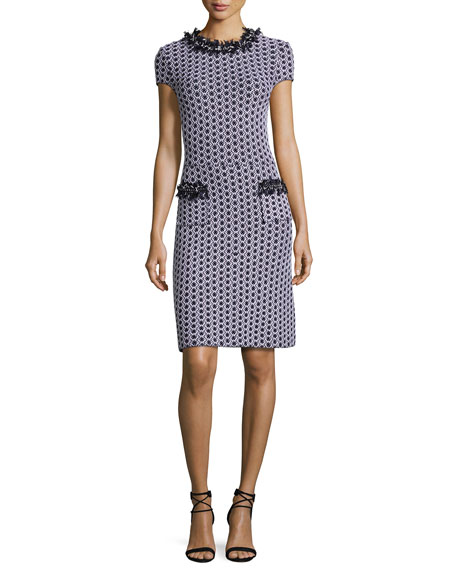 St. John Collection Aadi Tweed Knit Fringe-Trim Dress,