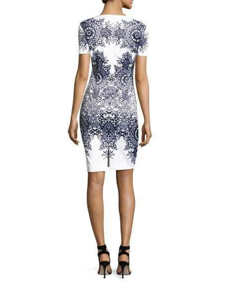 Nellore-Print Stretch Satin Short-Sleeve Dress, White/Multi