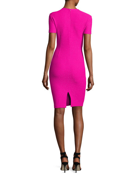 Ribbon Texture Knit Folded V-Neck Sheath Dress, Pink
