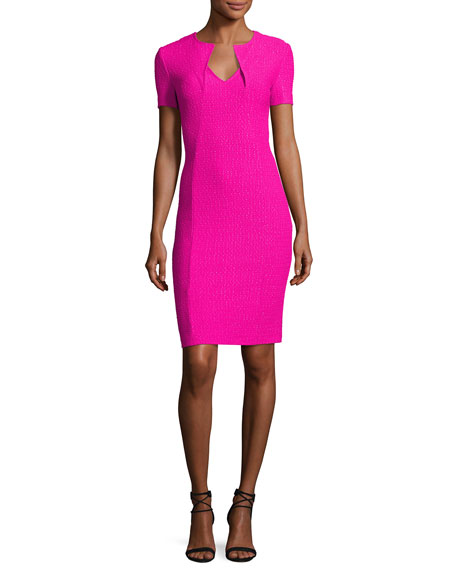 St. John Collection Ribbon Texture Knit Folded V-Neck Sheath Dress ...