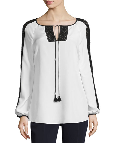 St. John Collection Lace-Trim Tie-Neck Blouse, White