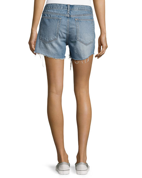 Distressed Boyfriend Shorts, Rye